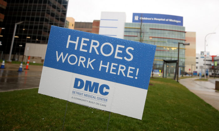 A sign outside the Detroit Medical Center, on April 17, 2020. A parade to support health care workers during the COVID-19 pandemic was held. (Gregory Shamus/Getty Images)