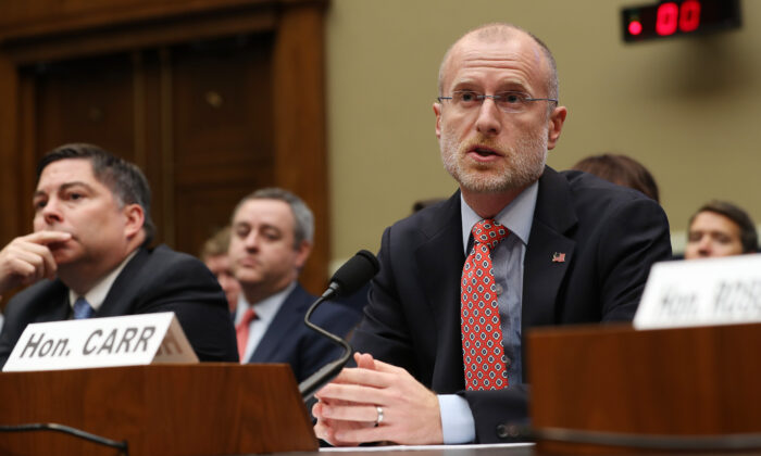 Federal Communication Commission Commissioner Brendan Carr testifies before the House Energy and Commerce Committee's Communications and Technology Subcommittee in the Rayburn House Office Building on Capitol Hill in Washington on Dec. 05, 2019. (Chip Somodevilla/Getty Images)