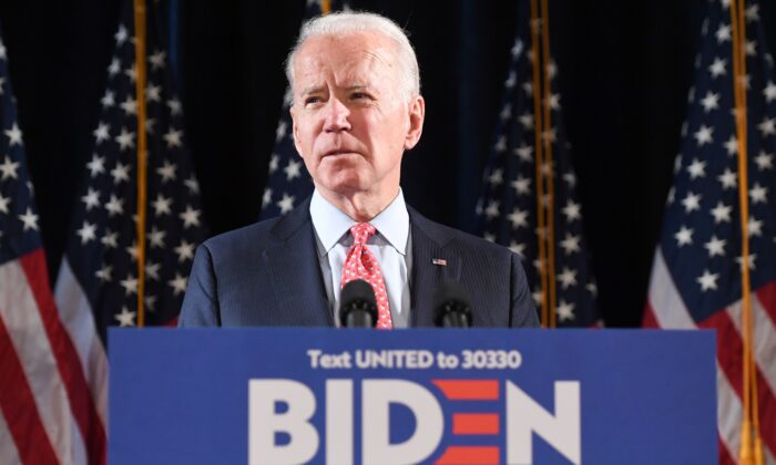 Former US Vice President and Democratic presidential hopeful Joe Biden speaks about COVID-19, known as the Coronavirus, during a press event in Wilmington, Delaware on March 12, 2020. (Photo by SAUL LOEB / AFP) (Photo by SAUL LOEB/AFP via Getty Images)