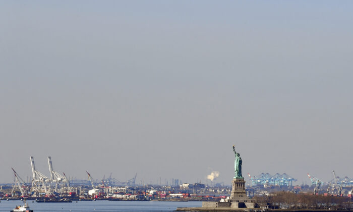 The Statue of Liberty in New York Harbor on March 18, 2020. (Angela Weiss/AFP via Getty Images)
