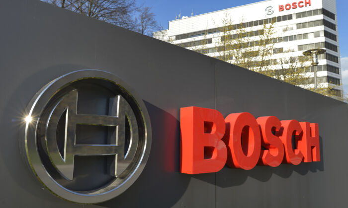 The Bosch logo at the company's headquarters in Gerlingen near Stuttgart, Germany, on April 18, 2013. (Thomas Kienzle/AFP via Getty Images)