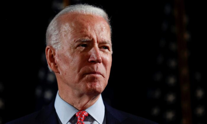 Democratic presidential candidate and former Vice President Joe Biden at an event in Wilmington, Delaware, on March 12, 2020. (Carlos Barria/Reuters)