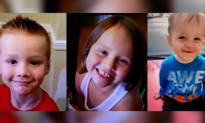 Missing children, 6-year-old's, Cameron (L) and Emma Allison (C), and 21-month-old Colin Allison (R). (Courtesy of Virginia State Police)