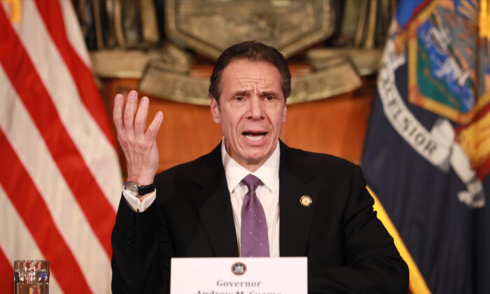 New York Gov. Andrew Cuomo gives his a press briefing about the CCP virus crisis in Albany, New York, on April 17, 2020. (Matthew Cavanaugh/Getty Images)