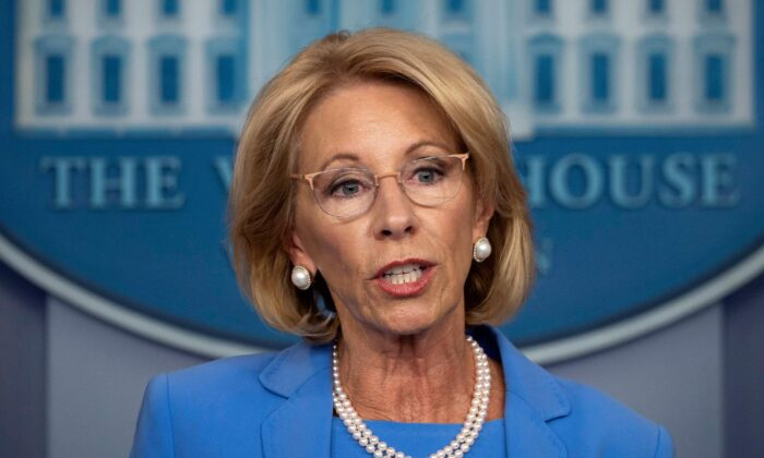 Secretary of Education Betsy DeVos speaks during a White House briefing on March 27, 2020. (Jim Watson/AFP via Getty Images)