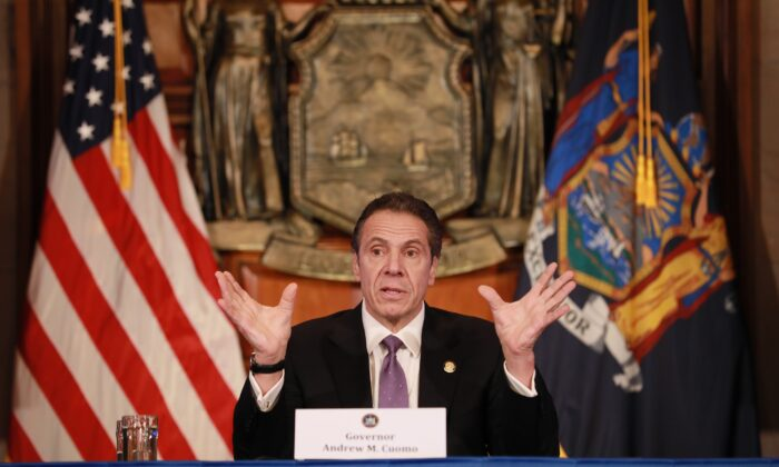 New York Gov. Andrew Cuomo gives a daily CCP virus briefing in Albany, New York, on April 17, 2020. (Matthew Cavanaugh/Getty Images)