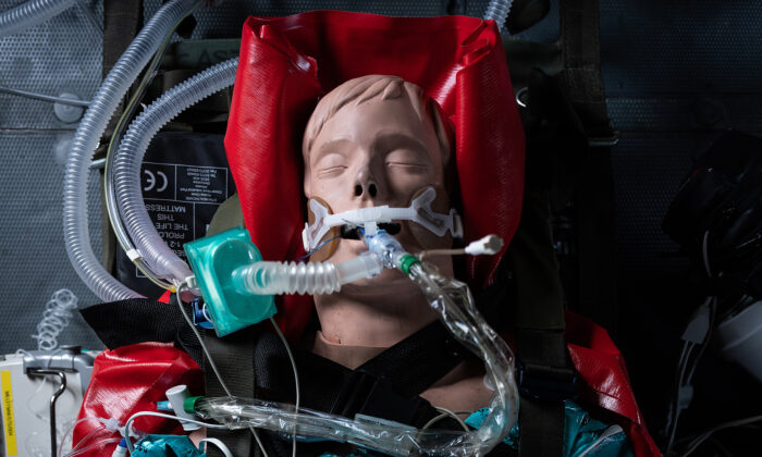 A medical mannequin wearing a ventilator is seen in Andover, England, on April 9, 2020. (Leon Neal/Getty Images)