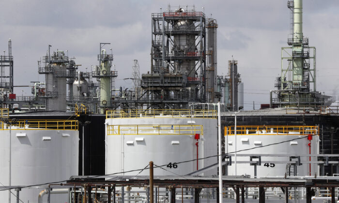 Storage tanks at the Marathon Petroleum Corp. refinery in Detroit on April 21, 2020. The world is awash in oil, there's little demand for it, and storage space is running out. (AP Photo/Paul Sancya)