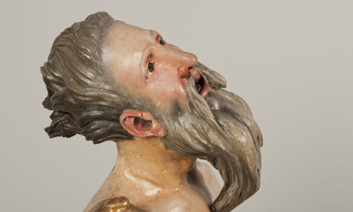 """Detail of Abraham's face in """"The Sacrifice of Isaac,"""" 1526–1533, by Alonso Berruguete. Polychromed wood with gilding. National Museum of Sculpture, Valladolid, Spain. (Javier Muñoz and Paz Pastor/National Museum of Sculpture, Valladolid, Spain)"""