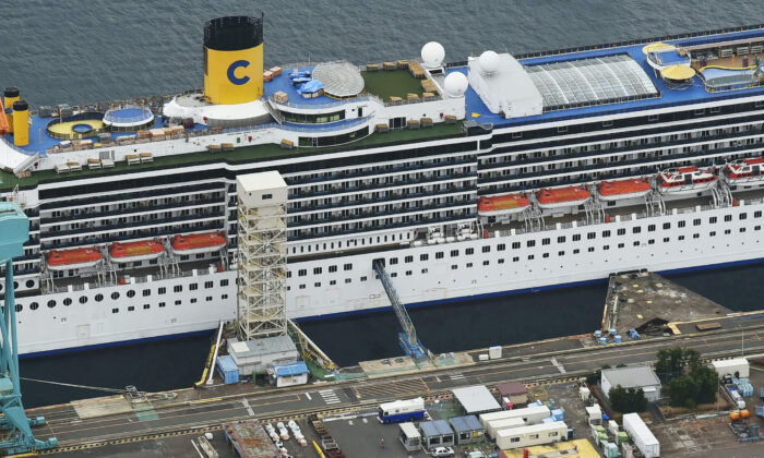 An aerial view shows Italian cruise ship Costa Atlantica, which has crew members confirmed with cases of the coronavirus disease (COVID-19) infection, in Nagasaki, southern Japan on April 23, 2020. (Kyodo/Reuters)