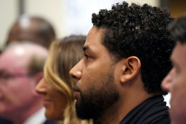 """Former """"Empire"""" actor Jussie Smollett appears in a courtroom at the Leighton Criminal Court Building for his arraignment, in Chicago"""