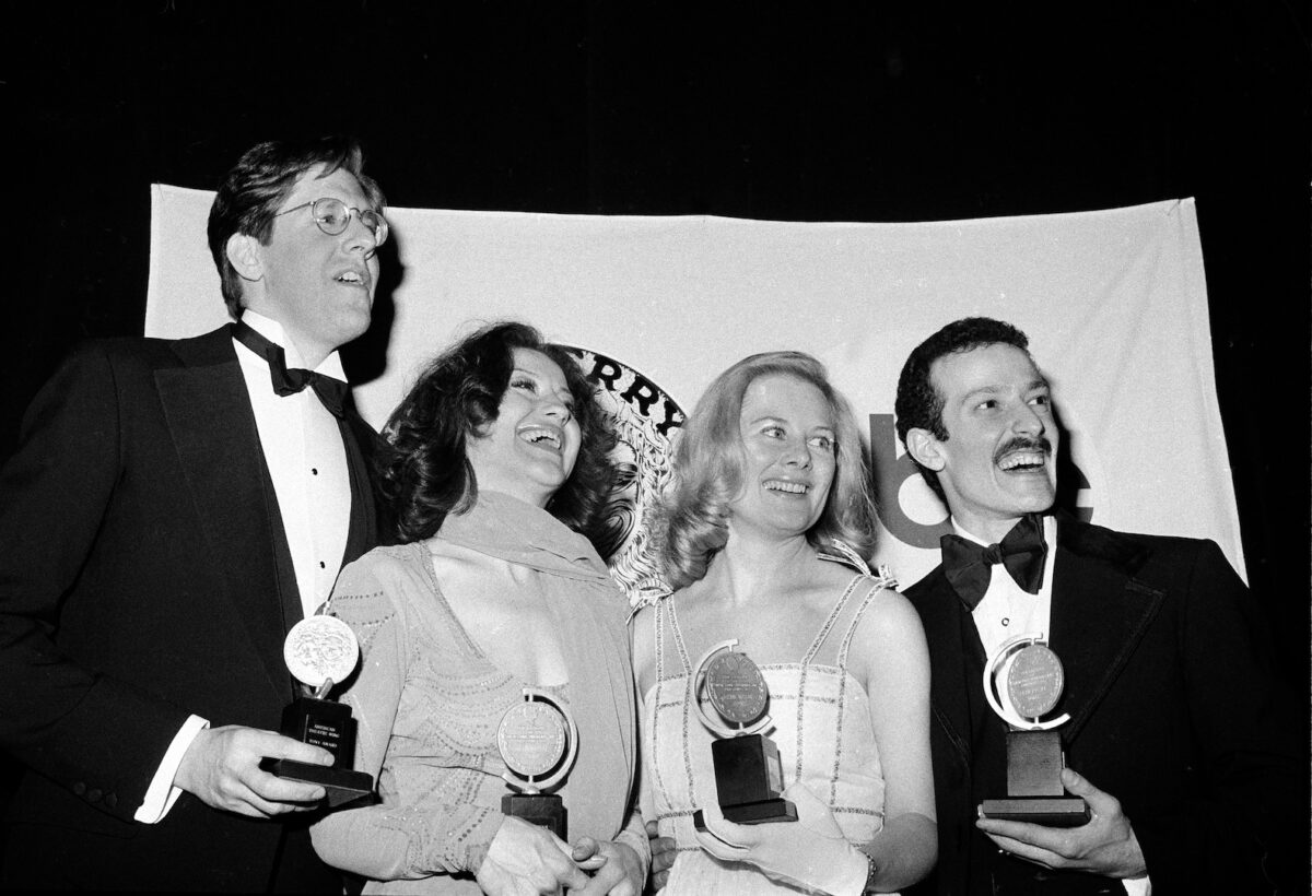 Tony winners, from left, Edward Herrmann, Carole Bishop, Shirley Knight and Sammy Williams, pose with their awards