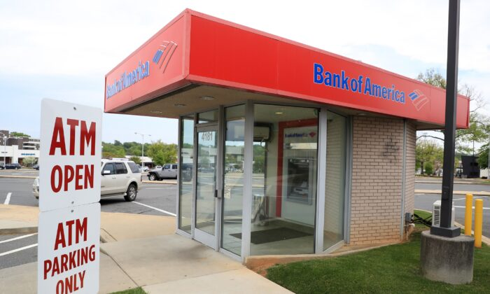 A general view of a Bank of America ATM in Park Road Shopping Center in Charlotte, N.C., on April 7, 2020. (Streeter Lecka/Getty Images)