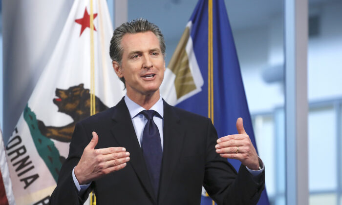 California Gov. Gavin Newsom speaks at his daily news briefing at the Governor's Office of Emergency Services in Rancho Cordova, Calif., on April 9, 2020. (Rich Pedroncelli, Pool/AP Photo)