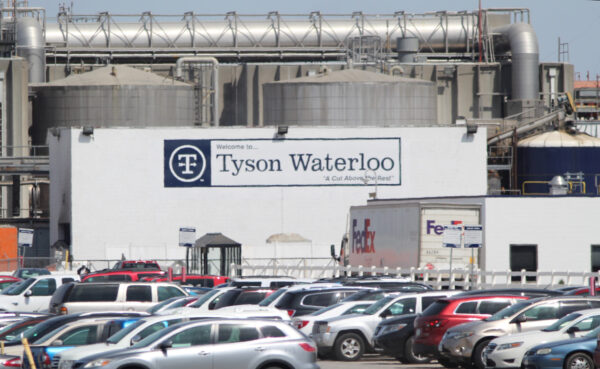A Tyson Fresh Meats plant stands in Waterloo
