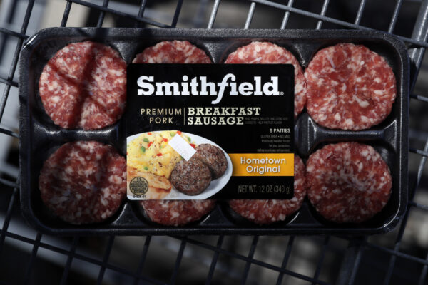 A package of Smithfield Foods breakfast sausage sits