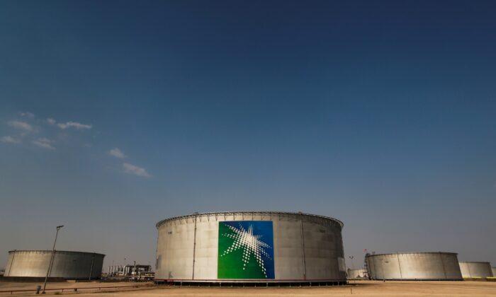 A view shows branded oil tanks at Saudi Aramco oil facility in Abqaiq, Saudi Arabia, on Oct. 12, 2019. (Maxim Shemetov/Reuters)