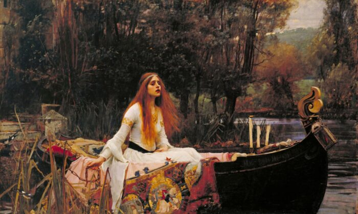 """Lady of Shalott"" 1888, by John William Waterhouse. Oil on Canvas; 5 feet by 6 feet 7 inches. Tate Britain, London. (Public Domain)"