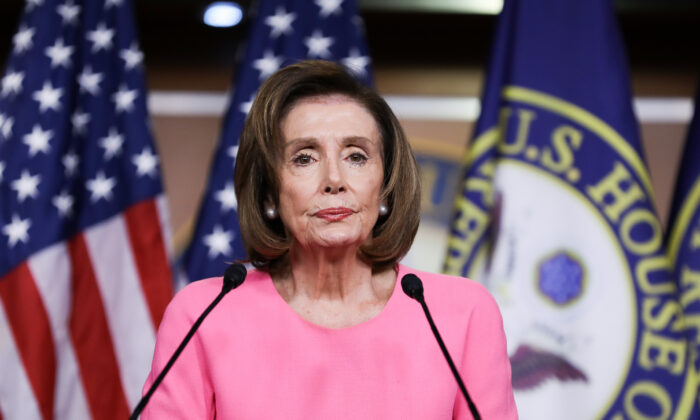 Speaker of the House Nancy Pelosi (D-Calif.) holds a press conference on March 26, 2020. (Charlotte Cuthbertson/The Epoch Times)