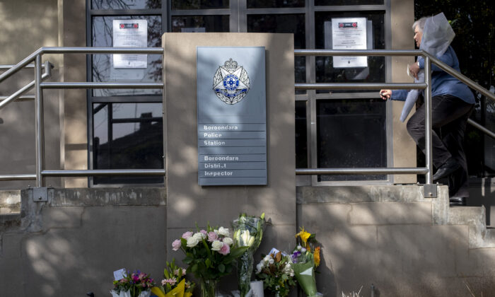 Tribute for fallen four police officers. Boroondara Police station in Melbourne, Australia on April 23, 2020. (Luis Ascui/Getty Images)