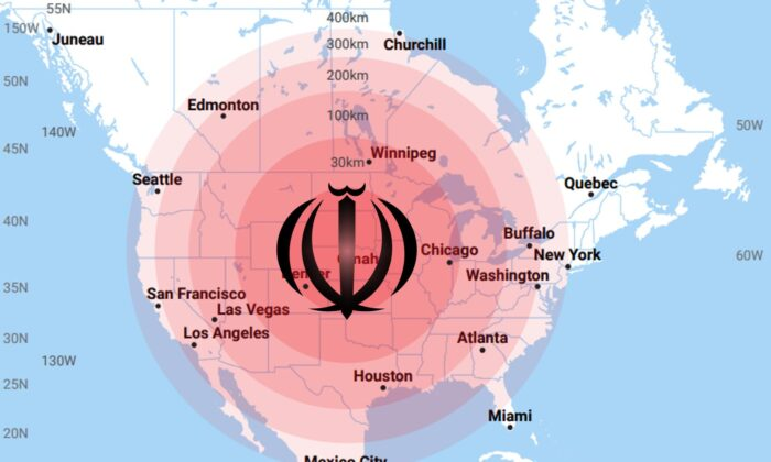 The pomegranate symbol from the Iranian flag atop an image created for the Congressional EMP Commission depicting the area affected by a nuclear electromagnetic pulse detonated at various heights of burst over North America and centered on the United States. (Tommy Waller/public domain)