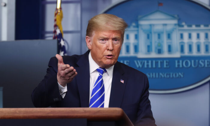 President Donald Trump addresses the daily CCP virus task force briefing at the White House in Washington on April 23, 2020. (Jonathan Ernst/Reuters)