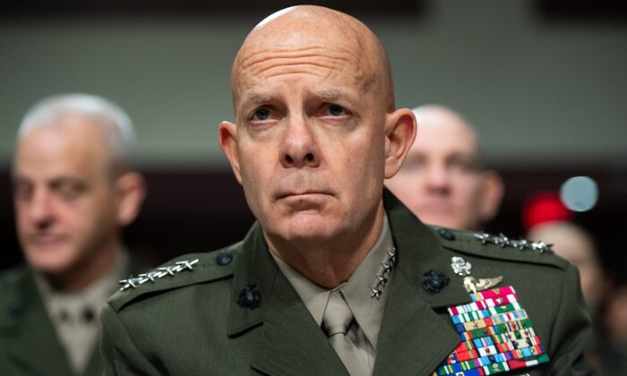 General David Berger, Commandant of the US Marine Corps, testifies at a Senate Armed Services Committee hearing on Capitol Hill in Washington, on Dec. 3, 2019.  (Saul Loeb/AFP/Getty Images)