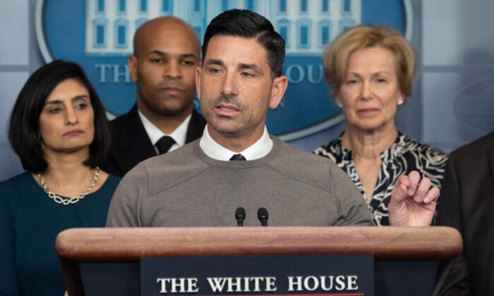 Acting Homeland Security Secretary Chad Wolf speaks during a press briefing about the CCP virus at the White House in Washington on March 14, 2020. (Jim Watson/AFP/Getty Images)