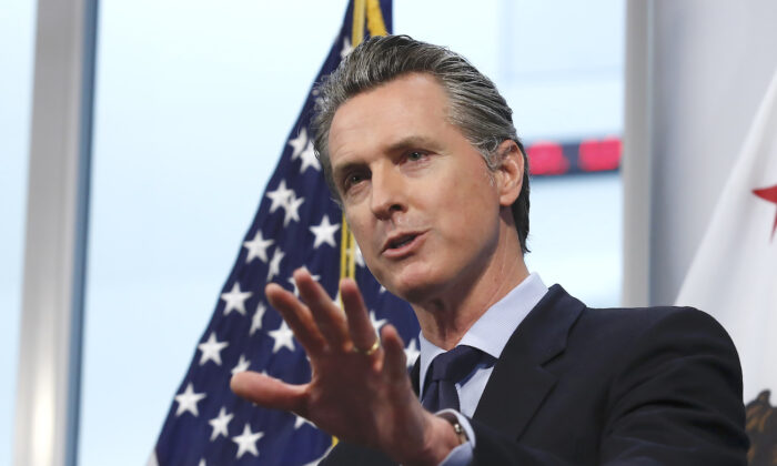 California Gov. Gavin Newsom speaks at a news briefing in Rancho Cordova, Calif., on April 9, 2020. (Rich Pedroncelli/AP Photo/Pool)