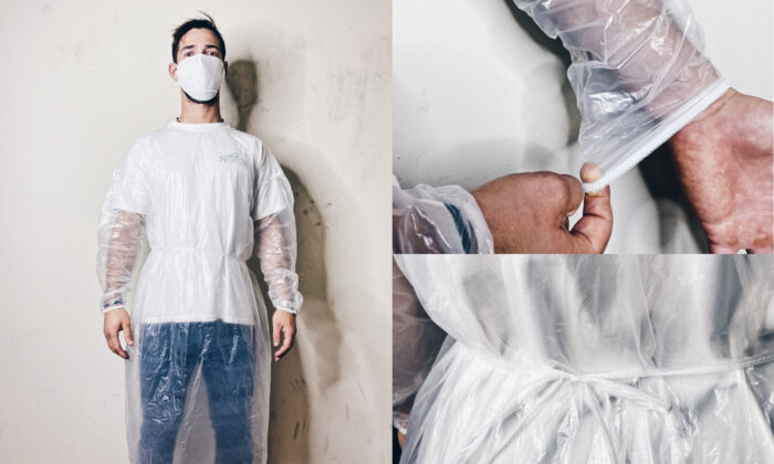 A hospital gown designed by Castles and Queens, a Los Angeles-based clothing company that has shifted gears to help health care workers during the COVID-19 pandemic. (Courtesy of Castles and Queens)