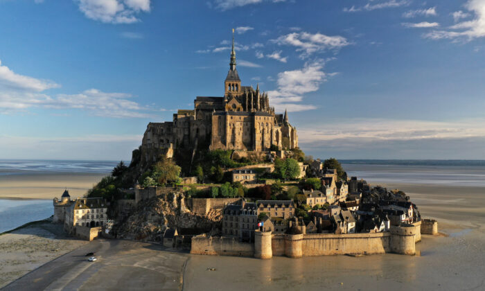 An aerial view shows the deserted Mont Saint-Michel in Normandy, France, April 17, 2020.  (REUTERS/Pascal Rossignol)