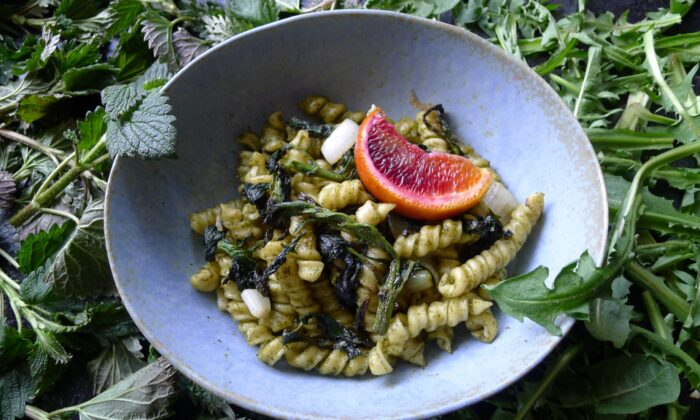 Hot pasta tossed with nettle and dandelion greens pesto. (Ari LeVaux)
