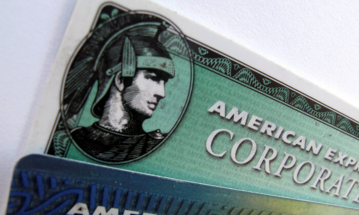American Express and American Express corporate cards are pictured in Encinitas, California, on Oct. 17, 2011. (Mike Blake/Reuters)