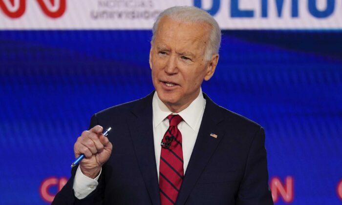 Former Vice President Joe Biden participate in a Democratic presidential primary debate at CNN Studios in Washington on March 15, 2020. (Evan Vucci/AP Photo)