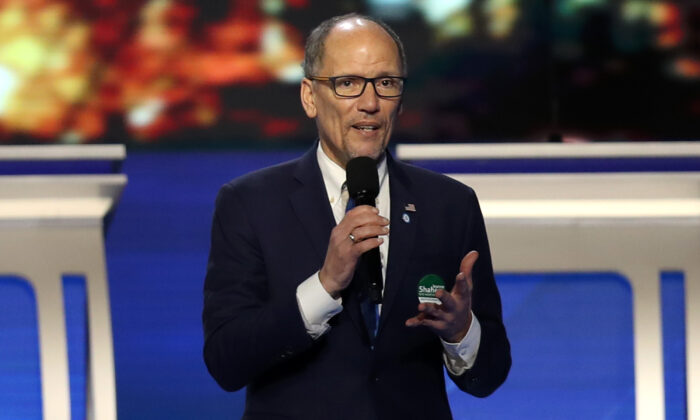 Chair of the Democratic National Committee Tom Perez speaks prior to the Democratic presidential primary debate in Manchester, New Hampshire, on Feb. 7, 2020. (Joe Raedle/Getty Images)