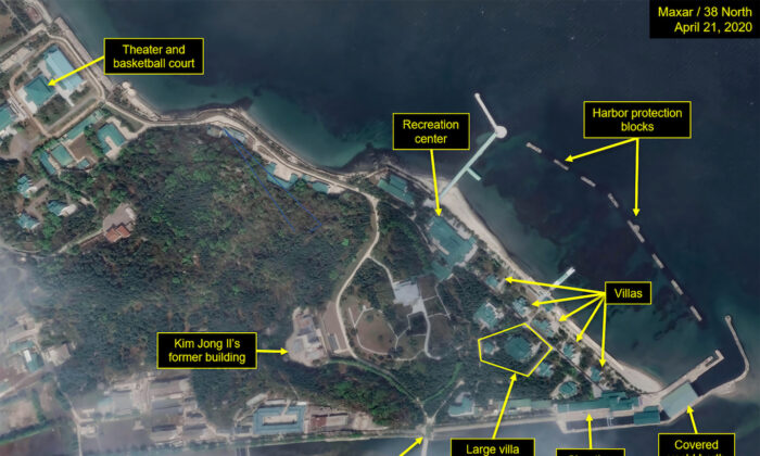 What is described by Washington-based North Korea monitoring project 38 North as a leadership train station servicing North Korean leader Kim Jong Un's Wonsan complex is seen in a satellite image with graphics taken over Wonsan, North Korea, on April 21, 2020. (North/Handout via Reuters)