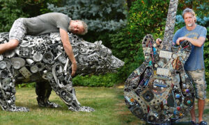 Artist Turns Scrap Metal Into Realistic Life-Size Sculptures of Lions, Dogs, Guitars, Bears