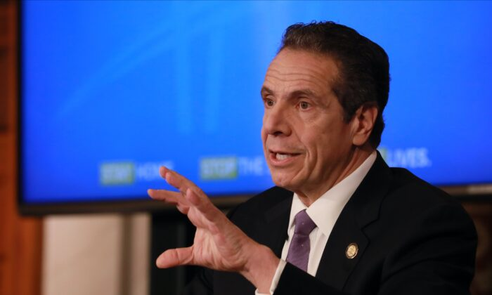 New York Governor Andrew Cuomo gives his a press briefing about the coronavirus crisis in Albany, New York, on April 17, 2020. (Matthew Cavanaugh/Getty Images)