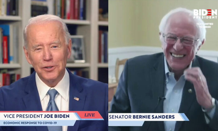 "Screengrab of Sen. Bernie Sanders (I-Vt.) endorsing Democratic presidential candidate former Vice President Joe Biden during a live streaming broadcast on April 13, 2020. Sanders said, ""Today, I am asking all Americans—I'm asking every Democrat, I'm asking every Independent, I'm asking a lot of Republicans—to come together in this campaign to support your candidacy."" (JoeBiden.com via Getty Images)"