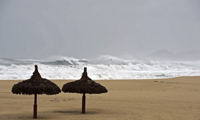 View of waves in San Jose del Cabo, Baja California State, Mexico, on Sept. 14, 2014. (Ronaldo Schemidt/AFP via Getty Images)