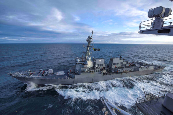 The U.S. Navy guided-missile destroyer USS Kidd transits the Gulf of Alaska