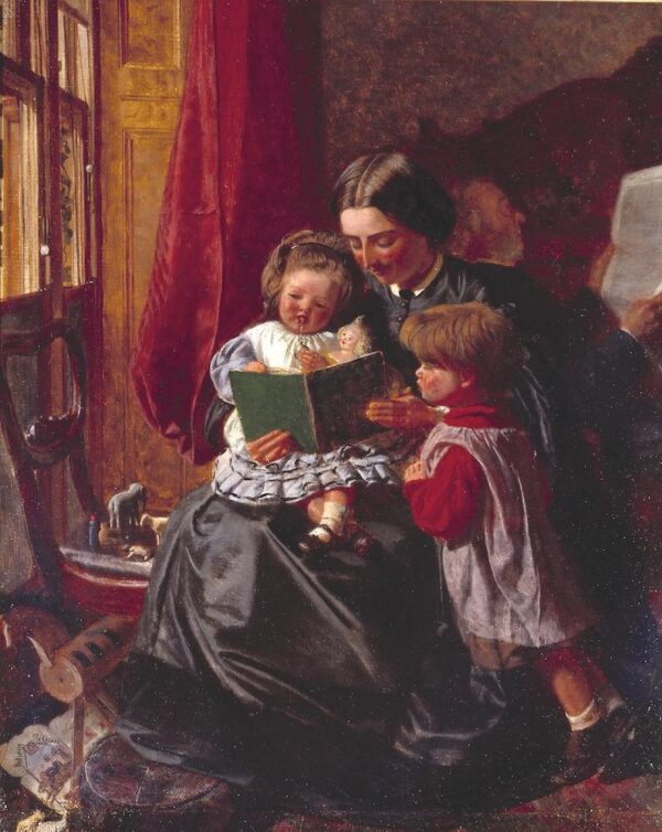 Mother and Children Reading c.1860 by Arthur Boyd Houghton 1836-1875