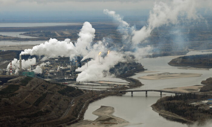 Aerial view of the Suncor oil sands extraction facility on the banks of the Athabasca River and near the town of Fort McMurray in Alberta Province, Canada on Oct. 23, 2009. (Mark Ralston /AFP Photo/AFP via Getty Images)