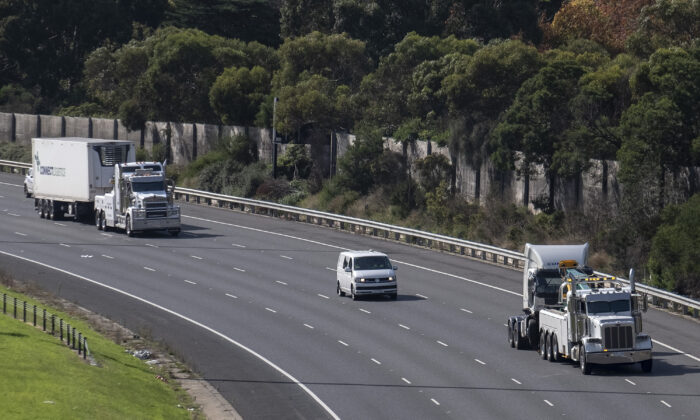 The truck involved in the crash which killed four police officers, Eastern Freeway, Melbourne, Australia, April 23, 2020. (Luis Ascui/Getty Images)