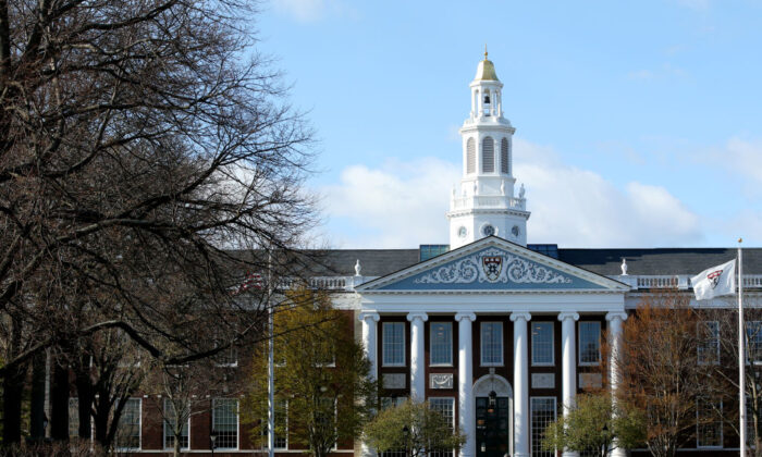 A general view of Harvard University campus on April 22, 2020 in Cambridge, Mass. (Maddie Meyer/Getty Images)