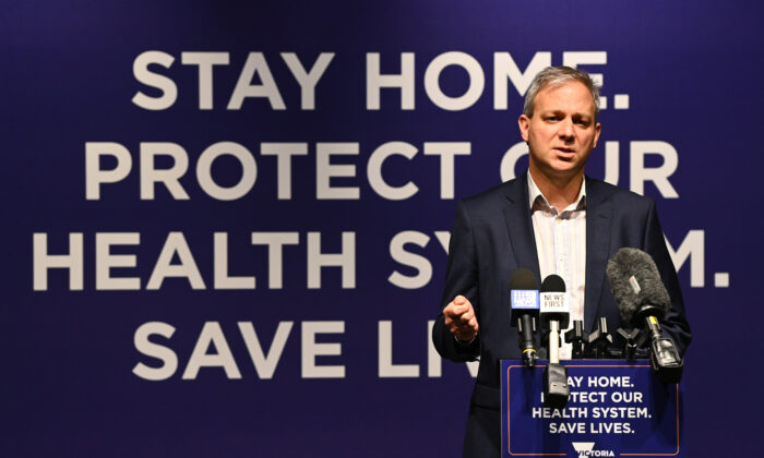 Victoria's Chief Health Officer Professor Brett Sutton speaks to the media in Melbourne, Australia, on April 27, 2020 (Quinn Rooney/Getty Images)