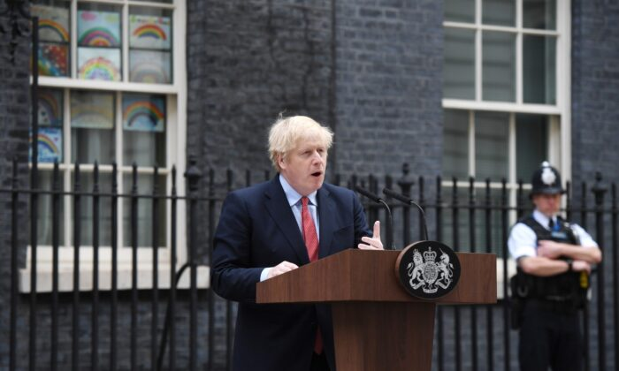 Prime Minister Boris Johnson speaks in Downing Street as he returns to work following his recovery from COVID-19  in London on April 27, 2020. (Chris J Ratcliffe/Getty Images)