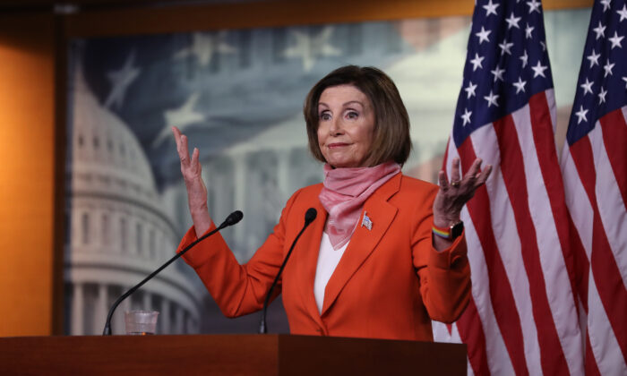 Speaker of the House Nancy Pelosi (D-Calif.) holds her weekly news conference at the U.S. Capitol in Washington on April 24, 2020. (Chip Somodevilla/Getty Images)