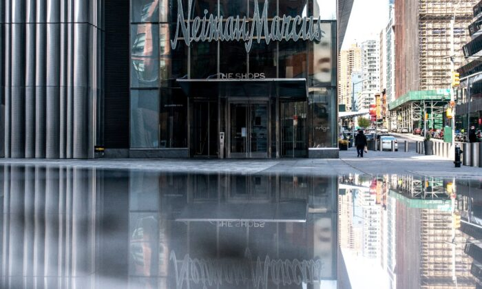 The Neiman Marcus store is seen during the outbreak of the CCP virus in New York City, on April 19, 2020. (Jeenah Moon/Reuters)