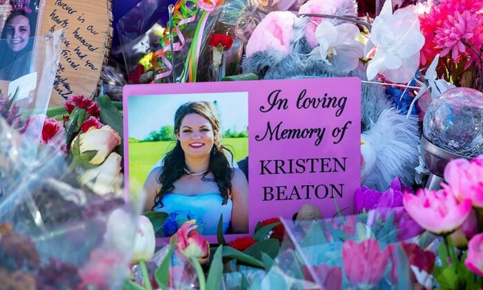 A photo of Kristen Beaton is displayed at a memorial in Debert, N.S. on April 26, 2020. (The Canadian Press/Andrew Vaughan)